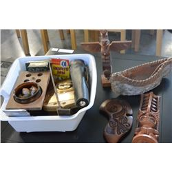 SHELF LOT OF NATIVE CARVED ITEMS AND OTHE COLLECTIBLE VINTAGE ITEMS