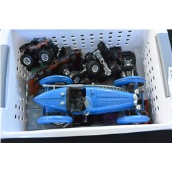 TRAY OF TOY MONSTER TRUCKS AND CARS
