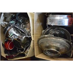 TWO BOXES OF SILVER PLATE AND METALWARE