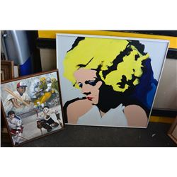 ACRYLIC ON CANVAS MARILYN PAINTING AND OIL ON CANVAS SPORTS PAINTING