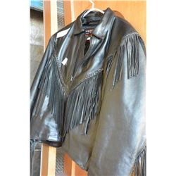 LARGE INTERSTATE LEATHER JACKET WITH TASSELLS