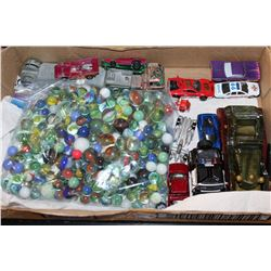 LOT OF MARBLES AND COLLECTIBLE TOY CARS ETC