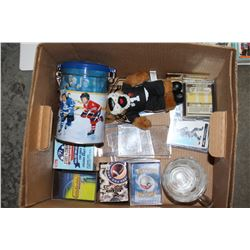 BOX OF SPORTS CARDS AND COLLECTIBLES