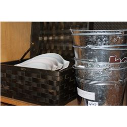 BASKET OF NESTING PYREX BOWLS AND TIN ICE BUCKETS