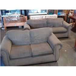 ROLLED ARM UPOLSTERED SOFA AND LOVESEAT