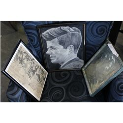 CHARCOAL JFK DRAWING AND LEP ENGRAVING AND ENGRAVING AND METAL PORTRAIT