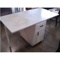 WHITE DROPLEAF DINING TABLE WITH STORAGE