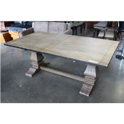 AS NEW HOME ELEGENCE INDUSTRIAL MODERN DINING TABLE WITH LEAF AND METAL BANDING