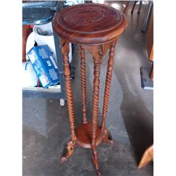 CARVED TWO TIER TALL PLANTSTAND