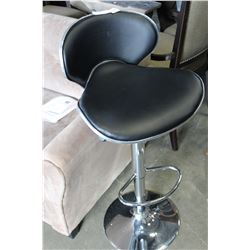 LEATHER CHROME GAS LIFT BAR STOOL