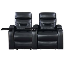 NEW PICKET HOUSE SATURN LEATHER GEL POWER RECLINING HOME THEATRE SEATING BLACK