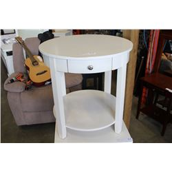 NEW HOME ELEGANCE ROUND 1 DRAWER ENDTABLE, WHITE