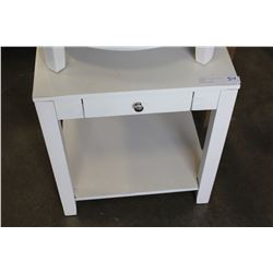 NEW HOME ELEGANCE SQUARE 1 DRAWER ENDTABLE, WHITE