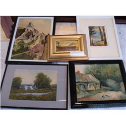 LOT OF SMALL PRINTS AND PAINTINGS