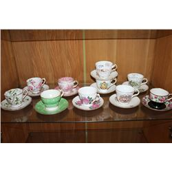LOT OF TEN CHINA CUPS AND SAUCERS