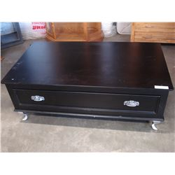 LARGE BLACK COFFEE TABLE WITH ONE DRAWER