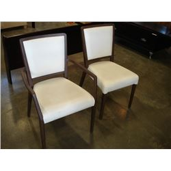 PAIR OF WHITE LEATHER MODERN CHAIRS