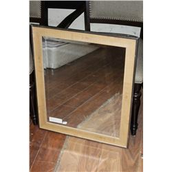 MODERN CHROME AND WOOD FRAMED BEVELLED WALL MIRROR
