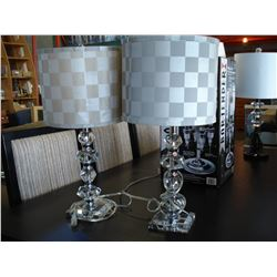 TWO CLEAR BASE TABLE LAMPS