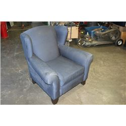 BLUE UPOLSTERED WING BACK ARMCHAIR