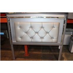 MODERN GREY MIRRORED AND LEATHER QUEENSIZE HEADBOARD