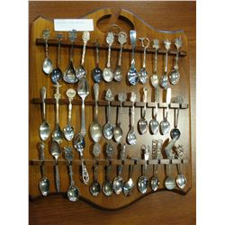 COLLECTORS SPOONS AND RACK