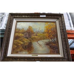 SIGNED 1975 OIL PAINTING OF RIVER ROAD IN FORT LANGLEY FALL SEASON