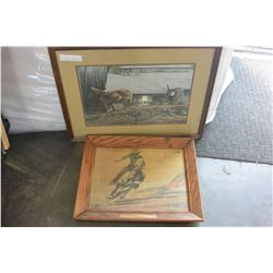 TWO FRAMED PRINTS OF HORSES