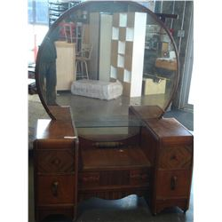 VINTAGE WATERFALL VANITY DRESSER WITH MIRROR AND NIGHTSTAND