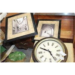 WALL CLOCK AND TWO PRINTS