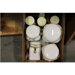 WHITE CANNISTER SET AND CANDLES