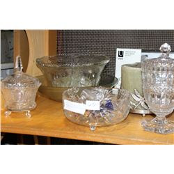 SHELF LOT OF CRYSTAL PUNCH BOWL AND OTHER CRYSTAL PIECES CANDLE ETC