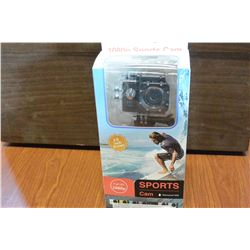 NEW SPORTS ACTION CAMERA, 1080P, WATERPROOFTO 30M, WITH ACCESSORIES AND MOUNTS