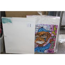 LOT OF CANVAS PAINTINGS AND NEW CANVAS