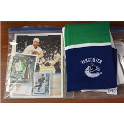 CANUCKS SCARF PHOTOS AND ROOKIE CARDS