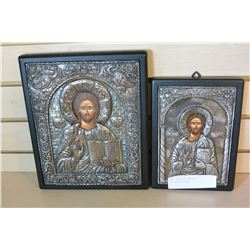 TWO STERLING EMBOSSED RELIGIOUS ICONS