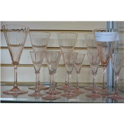 LOT OF PINK DEPRESSION STEMWARE