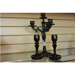 PAIR OF CANDLESTICKS AND CANDLEABRA