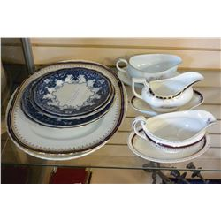 TWO ANTIQUE PLATTERS ANTIQUE PLATES AND GRAVY BOATS
