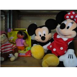 MICKEY AND MINNIE STUFFIES AND DORA AND CURIOUS GEORGE