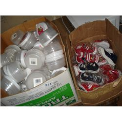 NEW KIDS SHOES AND PLASTIC STORAGE CONTAINERS