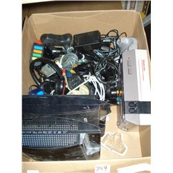 BOX OF VARIOUS GAMING SYSTEMS AND CONTROLLERS