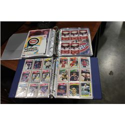 BINDER OF MONTREAL CANADIANS MEMORABILIA AND BINDER OF HOCKEY CARDS
