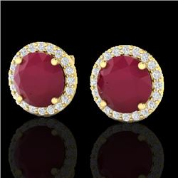 4 CTW Ruby & Halo VS/SI Diamond Micro Earrings Solitaire 18K Yellow Gold - REF-80N2Y - 21502