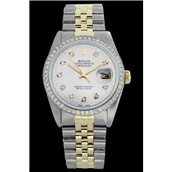 Rolex Men's Two Tone 14K Gold/SS, QuickSet, Diamond Dial & Diamond Bezel - REF-557N3A