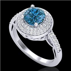 1.7 CTW Intense Blue Diamond Solitaire Engagement Art Deco Ring 18K White Gold - REF-254A5X - 38125