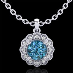 1.15 CTW Fancy Intense Blue Diamond Solitaire Art Deco Necklace 18K White Gold - REF-180M2H - 37845