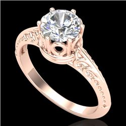 1 CTW VS/SI Diamond Art Deco Ring 18K Rose Gold - REF-361Y8K - 37251