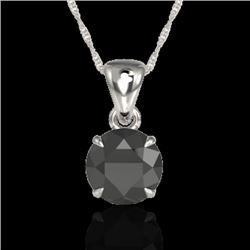 2 CTW Black VS/SI Diamond Inspired Solitaire Necklace 18K White Gold - REF-63W6F - 22015