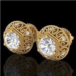 1.31 CTW VS/SI Diamond Solitaire Art Deco Stud Earrings 18K Yellow Gold - REF-236X4T - 36922
